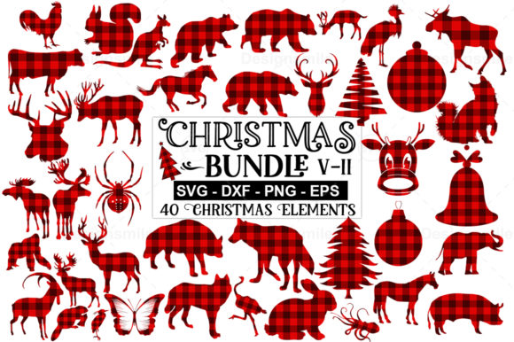 Print on Demand: 40 Christmas Elements SVG Bundle Graphic Print Templates By Designdealy.com