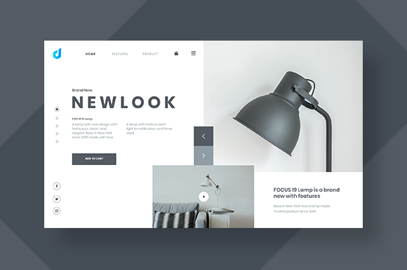 Furniture Web Header Easy to Use Graphic UX and UI Kits By dedisain