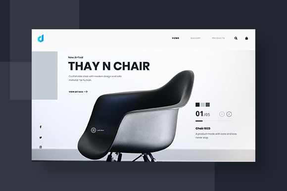Clean Furniture Web Header Graphic UX and UI Kits By dedisain