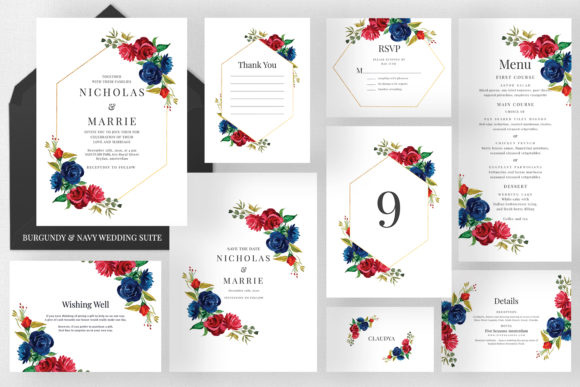 Burgundy & Navy Wedding Suite Graphic Print Templates By Azka Creative