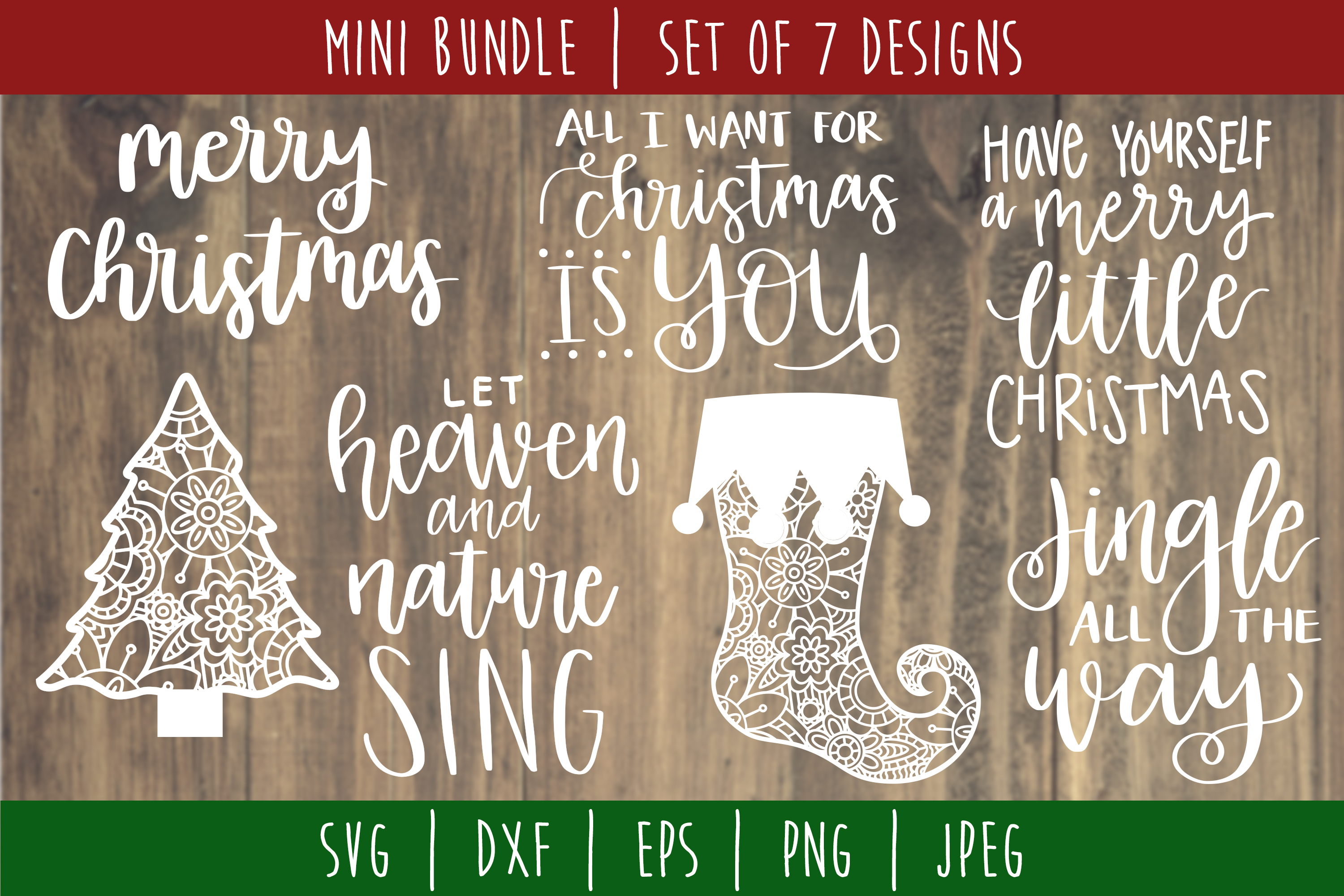 Download Free Christmas Mini Bundle Volume 2 Set Of 7 Graphic By for Cricut Explore, Silhouette and other cutting machines.