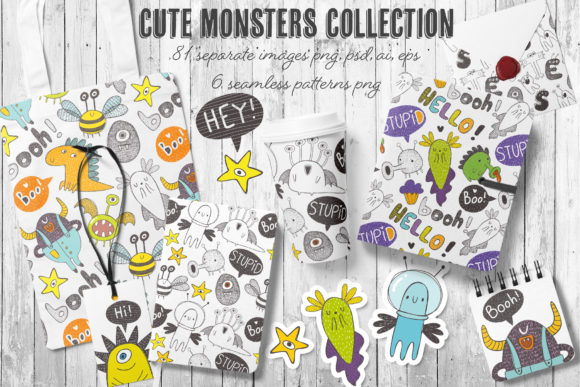 Print on Demand: Doodle Monster Clipart Bundle Graphic Illustrations By Architekt_AT