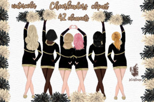 Print on Demand: Cheerleaders Clipart Sport Girls Graphic Illustrations By LeCoqDesign