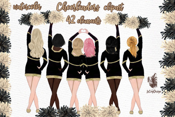 Cheerleaders Clipart Sport Girls Graphic Illustrations By LeCoqDesign