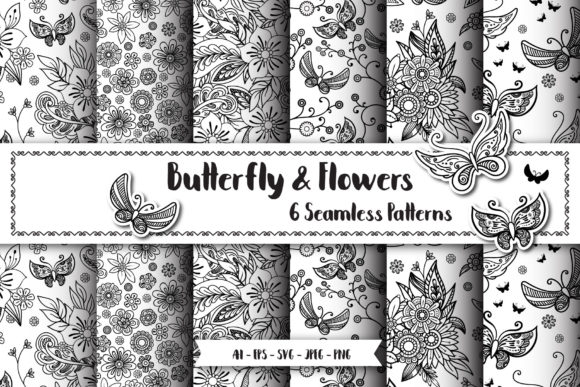 Butterfly Seamless Patterns Gráfico Moldes Por elinorka