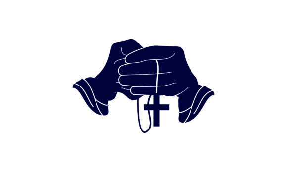 Praying Hand Holding Cross.Religion Logo Graphic