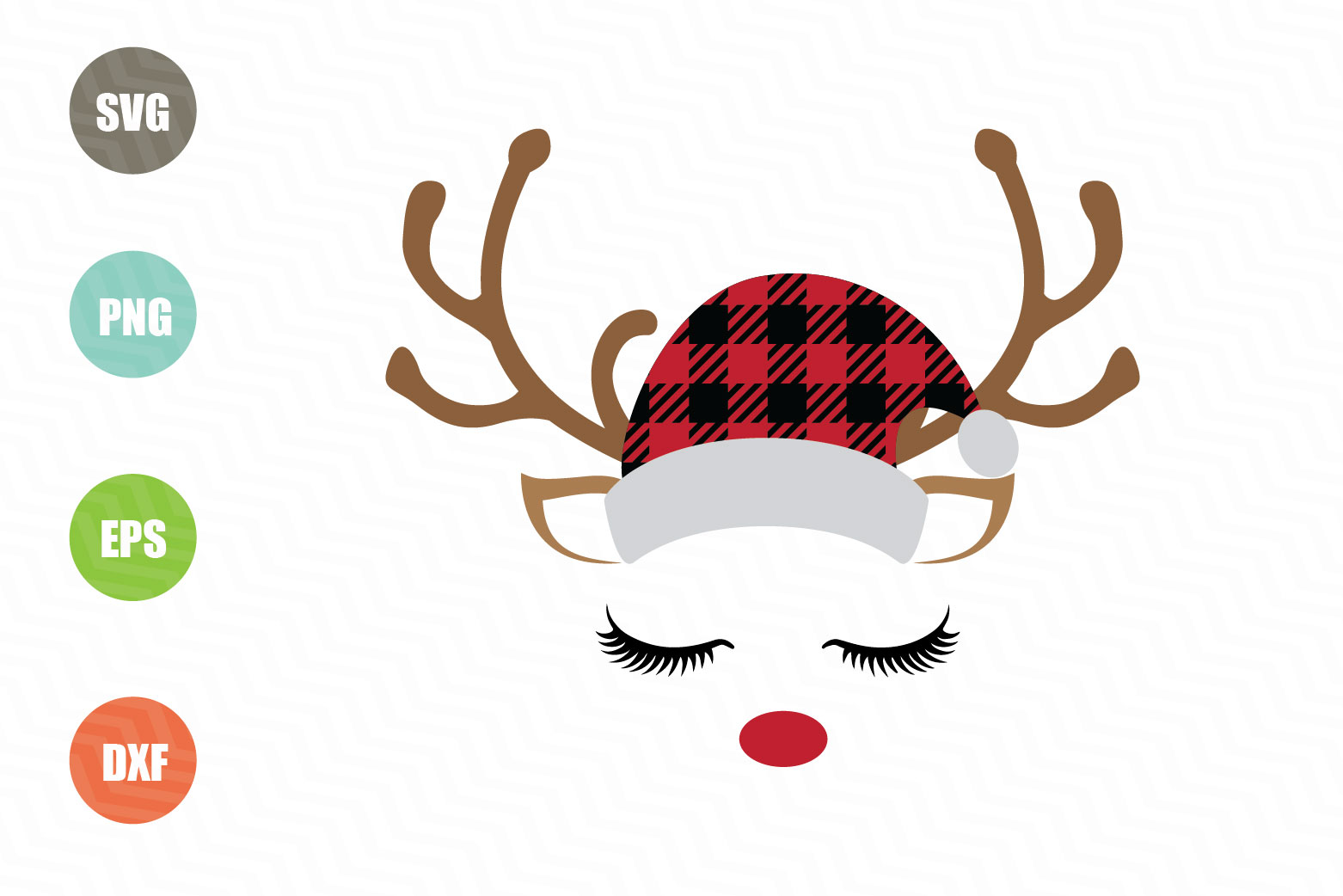 Download Free Reindeer Buffalo Plaid Graphic By Logotrain034 Creative Fabrica for Cricut Explore, Silhouette and other cutting machines.