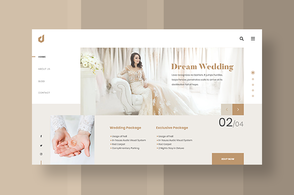 Dream Wedding Website Element Graphic UX and UI Kits By dedisain