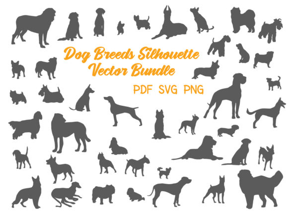 Print on Demand: Dog Breeds Silhouette Vector Bundle Graphic Print Templates By yumiguelgfxartshop - Image 1