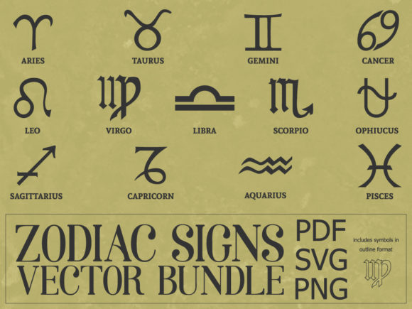 Print on Demand: Zodiac Signs Symbol Vector Bundle Graphic Print Templates By yumiguelgfxartshop