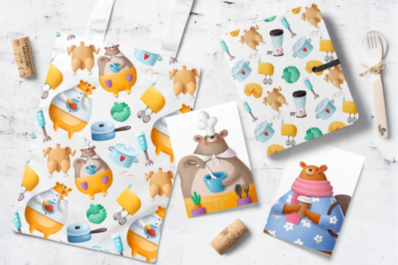 Print on Demand: Bears in the Kitchen Graphic Illustrations By Architekt_AT - Image 8