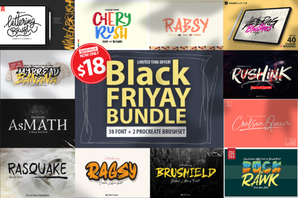 Print on Demand: Black Friyay BUNDLE Grafik Pinselstriche von DK Project