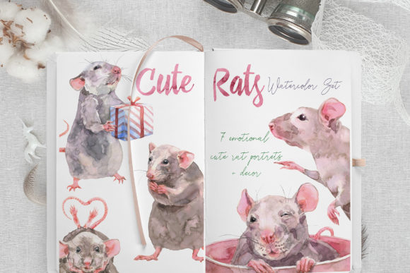 Cute Rats Watercolor Set Graphic Illustrations By Cat In Colour