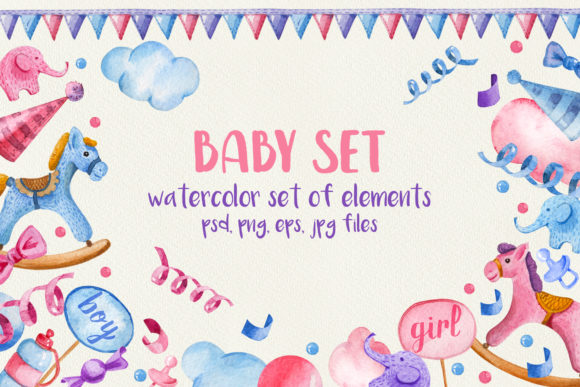 Print on Demand: Watercolor Baby Set. for Baby Shower Graphic Illustrations By zmievska_ksenia