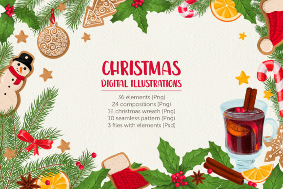 Print on Demand: Christmas Digital Illustration Set Graphic Illustrations By zmievska_ksenia