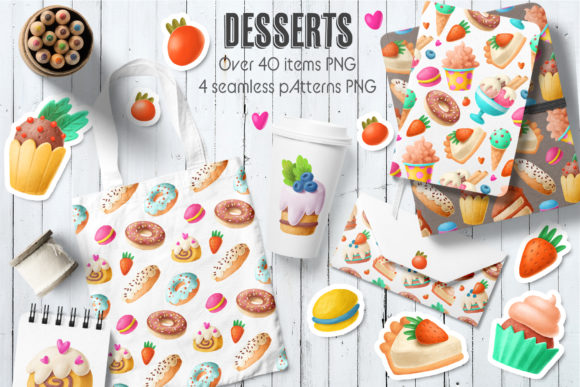 Print on Demand: Hand Drawn Desserts Clipart Graphic Illustrations By Architekt_AT