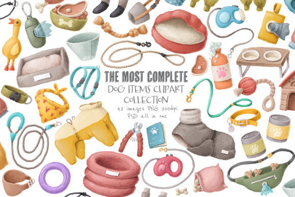 Print on Demand: Dog Items Clipart Collection Graphic Illustrations By Architekt_AT