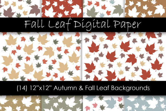 Autumn & Fall Leaf Digital Papers Graphic