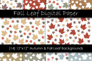 Autumn & Fall Leaf Digital Papers Graphic Patterns By GJSArt