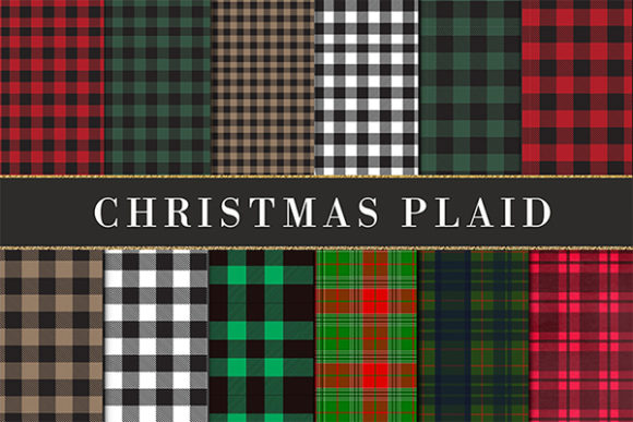 Print on Demand: Buffalo Plaid Christmas Grafik Hintegründe von The Rose Mind