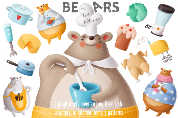 Print on Demand: Bears in the Kitchen Graphic Illustrations By Architekt_AT