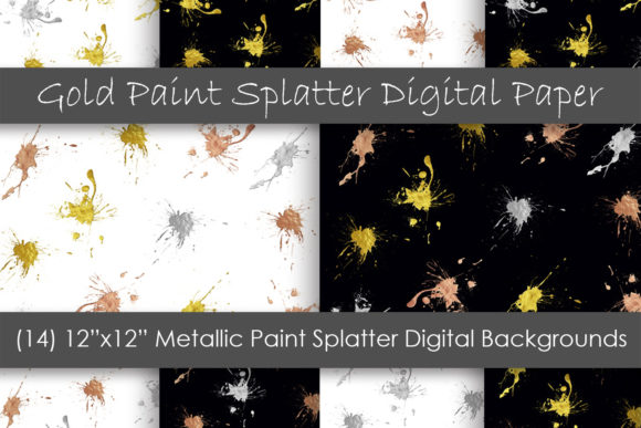 Metallic Paint Splatter Digital Papers Graphic Backgrounds By GJSArt - Image 1