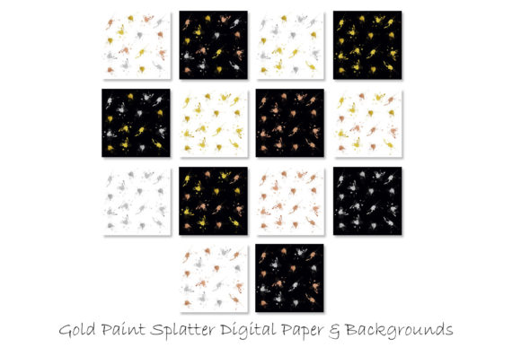 Metallic Paint Splatter Digital Papers Graphic Backgrounds By GJSArt - Image 2