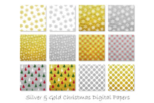 Gold & Silver Christmas Digital Paper Graphic Patterns By GJSArt 2