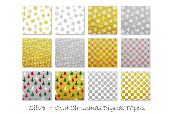 Gold & Silver Christmas Digital Paper Graphic Patterns By GJSArt - Image 2