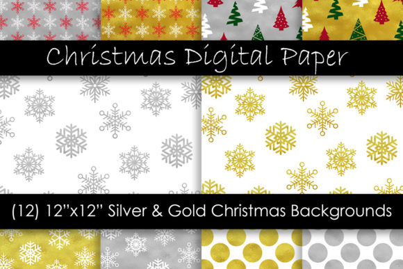 Gold & Silver Christmas Digital Paper Graphic Patterns By GJSArt - Image 1