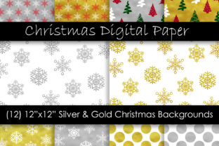 Gold & Silver Christmas Digital Paper Graphic Patterns By GJSArt