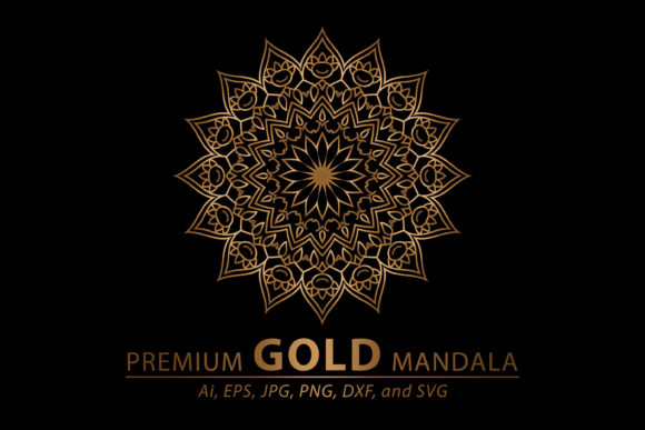 Download Free Premium Gold Mandala Vector Art Pattern Graphic By for Cricut Explore, Silhouette and other cutting machines.