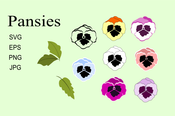 Download Free Flat Color Pansies Graphic By Artbyliz Creative Fabrica for Cricut Explore, Silhouette and other cutting machines.