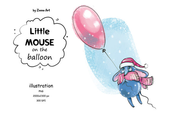 Print on Demand: Little Mouse on the Balloon Graphic Illustrations By Zooza Art