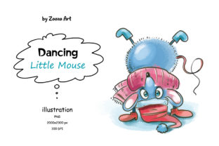 Download Free Dancing Little Mouse Illustration Graphic By Zooza Art for Cricut Explore, Silhouette and other cutting machines.
