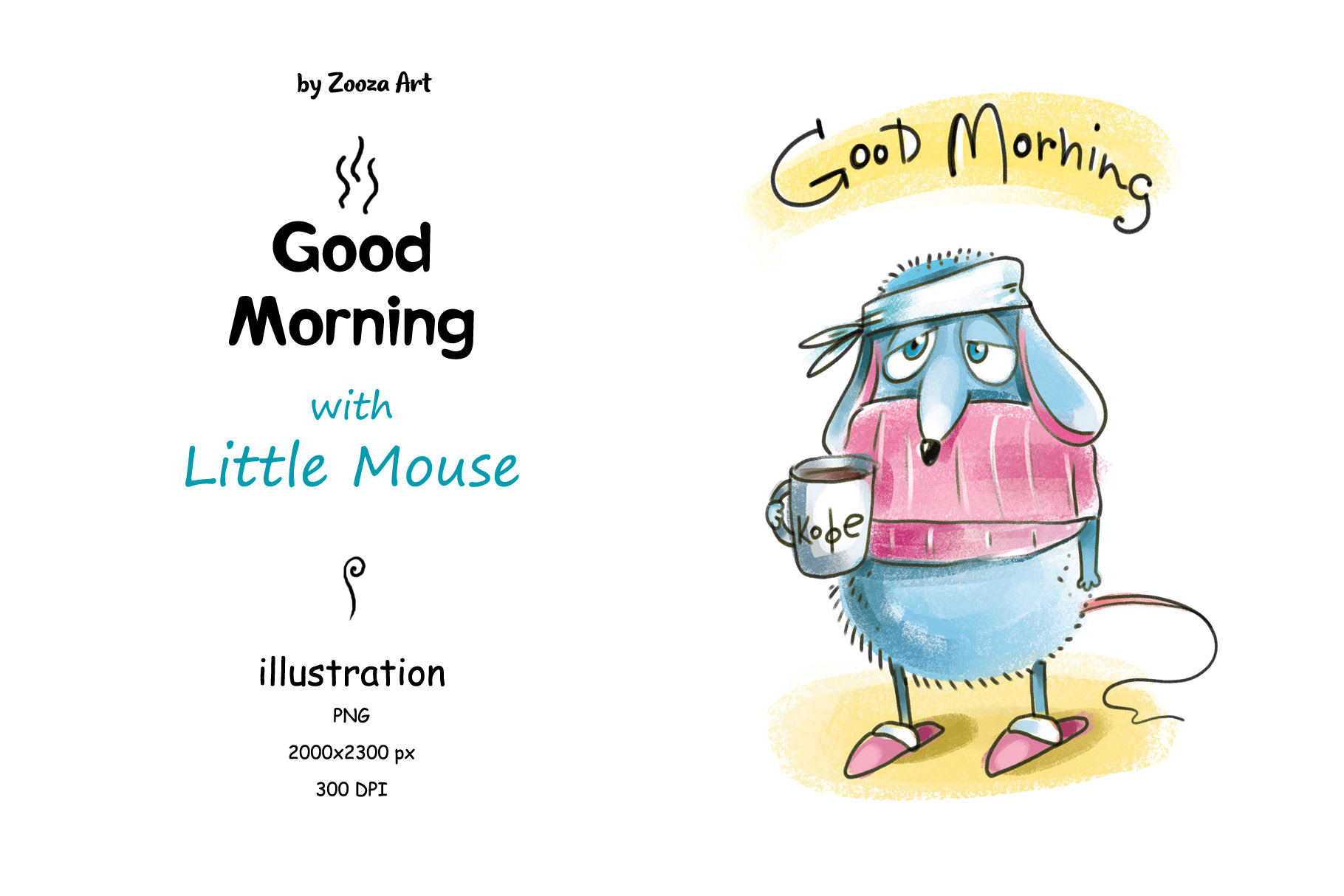 Download Free Good Morning With Little Mouse Graphic By Zooza Art Creative for Cricut Explore, Silhouette and other cutting machines.