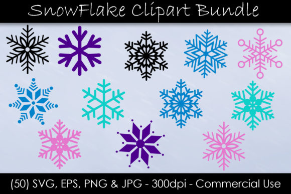 Snowflake SVG Bundle Snow Clip Art Graphic Objects By GJSArt