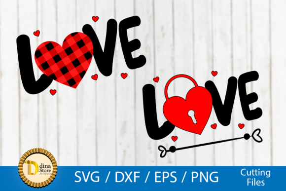 Print on Demand: Svg Love Word in Two Styles Graphic Crafts By dina.store4art