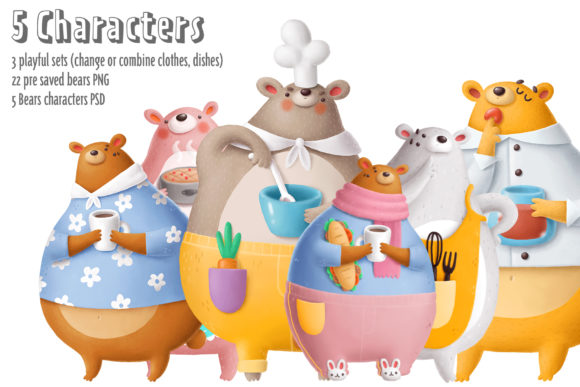 Print on Demand: Bears in the Kitchen Graphic Illustrations By Architekt_AT - Image 3