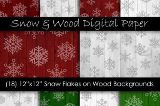 Christmas Snowflake Wood Digital Paper Graphic Textures By GJSArt