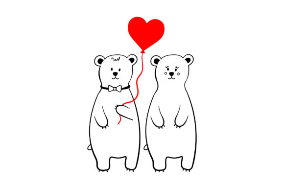 Lover Polar Bears Valentine's Day Craft Cut File By Creative Fabrica Crafts - Image 1