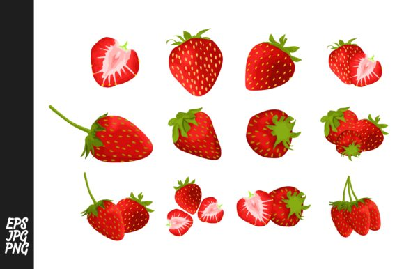 Print on Demand: Strawberry Fruit Vector PNG Bundle Graphic Crafts By Arief Sapta Adjie - Image 1