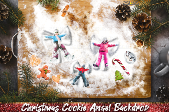 Christmas Digital Backdrop Snow Angel Graphic Layer Styles By 2SUNS
