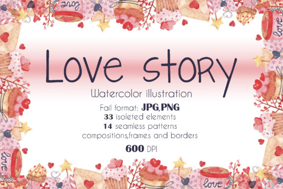 Print on Demand: Love Story Watercolor Set Graphic Illustrations By VashaRisovasha - Image 1