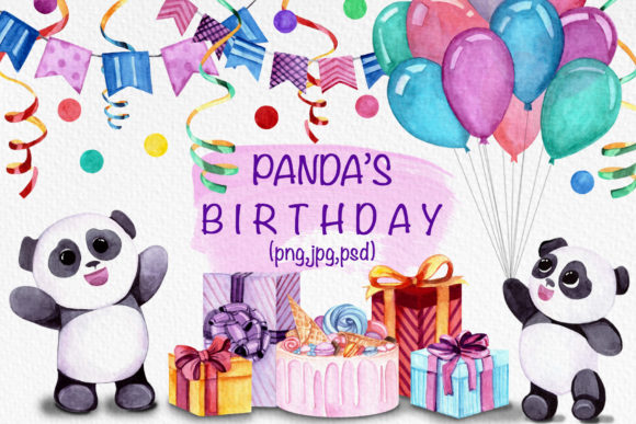 Panda's Birthday Collection Graphic Illustrations By Vera Vero