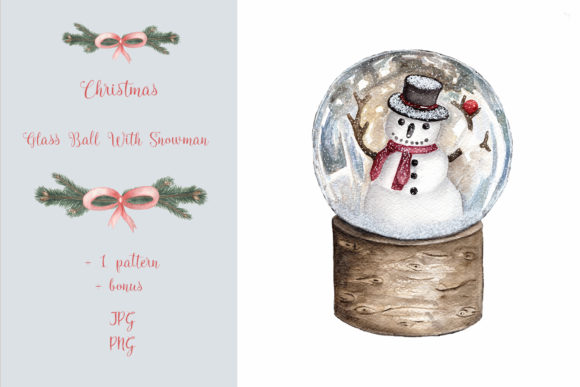 Christmas Glass Ball with Snowman Graphic Illustrations By Maya Navits
