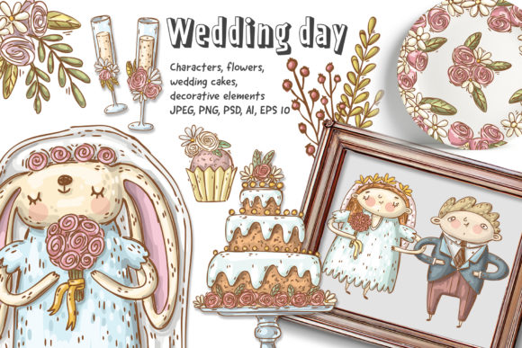 Print on Demand: Wedding Clipart Set Graphic Illustrations By Architekt_AT