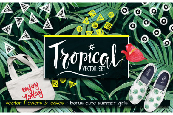 Tropical Vector Flower & Leaves. Graphic Illustrations By yana26789