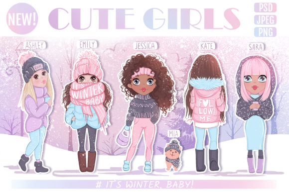 Download Free Cute Girls Winter Llustrations Graphic By Yana26789 Creative for Cricut Explore, Silhouette and other cutting machines.