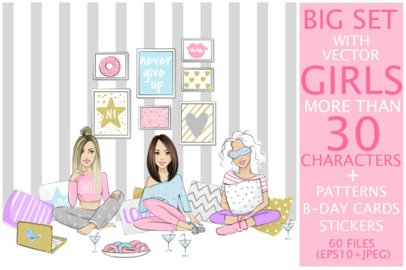 Big Kit with Fashion Girls. Graphic Illustrations By yana26789